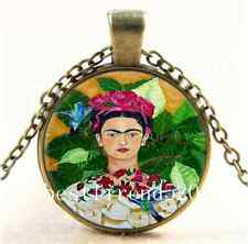 Vintage Frida Kahlo and Bird Cabochon Glass Bronze Chain Pendant  Necklace