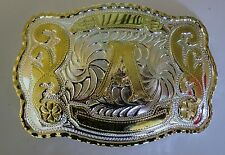 "NEW INITIAL "" A ""  RODEO BIG COWBOY WESTERN BELT BUCKLE"