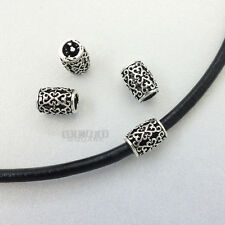 4 PC Antique Sterling Silver Scroll Heart Barrel Bead Spacer 8.9mm #33087