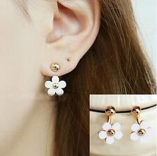 Fashion Elegant Charming Gold Ball White Flower Double Sided Stud Drop Earrings