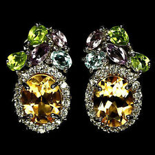 26 CTS!! SUPREME! NATURAL FACETED CITRINE, PERIDOT, AMETHYST, TOPAZ 925 EARRINGS