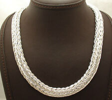 "18"" Bold All Shiny Domed Spiga Wheat Necklace Chain Real Sterling Silver 925"