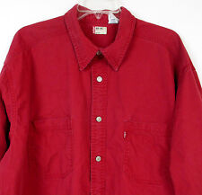 Vtg 80s 90s LEVI'S Men's L/S Button Front Western Heavy Denim Red Shirt XL