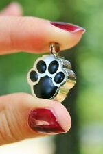 Cremation Jewelry Pendant Urn Holds Ashes Paw Print Pet Dog Cat Black Silver USA