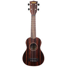 Kala Ebony Soprano Ukulele Right-Hand Uke w/ Rosewood Fingerboard Aquila Strings
