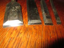 """(402) Four wood chisels sizes 1"""",3/4"""",1/2"""",1/4"""""""