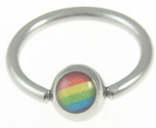 Pride Shack -Rainbow Captive Bead Ring - Gay Lesbian Eyebrow Nipple Belly & Body