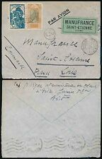 FRENCH GUINEA WW2 1940 to MANUFRANCE AIRMAIL CENSORED APRIL 23 PITA...ST ETIENNE