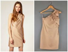 Reiss Tamsin One Shoulder Short Dress in Bronze Beige Natural Cotton Silk Size 6