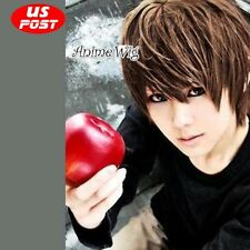 Light Yagami Anime Cosplay Short Brown Layered Men Hair Wig Cosplay Party Dress