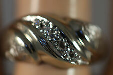HEAVY WIDE VINTAGE 14K SOLID WHITE GOLD .14CT DIAMOND BAND RING 14KT 8.25 5.21G