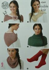 KNITTING PATTERN Ladies Socks, Neck Scarf and Neck Warmers DK King Cole 4369