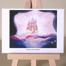 ACEO art delicate Snow White golden castle in the clouds WDCC drawing