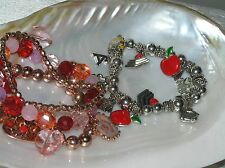Estate Lot of 2 Copper & Red Plastic Bead with HEART Charms & Silvertone Enamel