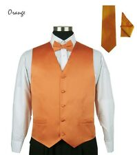 Solid & Design Men Tuxedo Vest 4 Piece Set  with Bow Tie, Handkerchief,and Tie