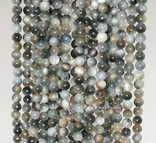 4MM CHRYSOBERYL CAT EYE GEMSTONE GREY GREEN ROUND 4MM LOOSE BEADS 15.5""