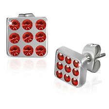 Urban Male Red Cz & Stainless Steel Mens Square Stud Earrings 6mm