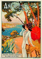 1910 Antibes France French  Côte d'Azur Art Travel Advertisement Poster Print