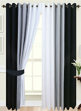 Eyelet curtains Ring Top Fully Lined Pair black Ready made curtains Tie Backs