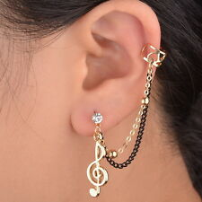 Gracious Music Note Crystal Gold Plated Clip Gothic Ear Cuff Chain Stud Earring