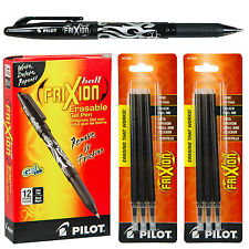 Box of 12, Pilot 31550 FriXion Erasable  Black Gel Ink Pen With 2 Pk of Refills