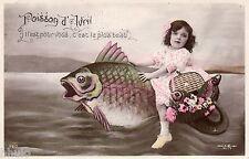 BL198 Carte Photo vintage card RPPC Enfant fantaisie poisson d'avril 1er avion