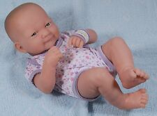 "Berenguer La Newborn Vinyl Baby Doll 14"" Girl with Original Clothes and Bracelet"