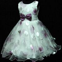 UKPU3211 Pageant Purple Christening Wedding Flower Girls Dress Sz 3,4,5,6,7,8,Y