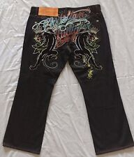 Christian Audigier Denim Jeans 44 x 34 Mens Baggy Loose Black Embroidered