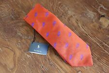 New Polo Ralph Lauren Silk Neck Tie Italy Orange Lobster