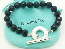 Tiffany & Co. Sterling Silver Black Onyx Round Bead Toggle Bracelet 7