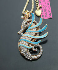 B616L    Betsey Johnson crystal Enamel Sea horse Pendant Sweater Chain Necklace