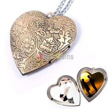 New Woman Man Couple Bronze Heart Photo Picture Locket Pendant Chain Necklace A#