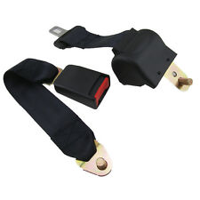 Black 2 Point Car Seat Belt Safety Strap Buckle Adjustable Retractable