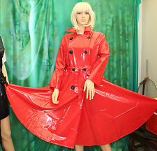 shiny red pvc vinyl d/breasted dress coat flared skirt 50's style TV CD size Med
