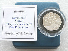 1994 PIEDFORT D-DAY SBARCO 50p 50 Pence ARGENTO PROOF COIN BOX COA