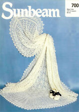 """Lovely Vintage baby 3ply Shawl- Knitting pattern- measures 50"""" complete"""