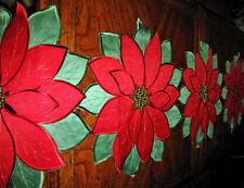"""Red Poinsettia Silky Shimmery Embroidered Christmas Decor Table Runner 69""""x14"""""""