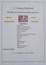 11+ Maths - 100 Practice Worksheets  - KS2  Eleven Plus Numeracy Resource on CD