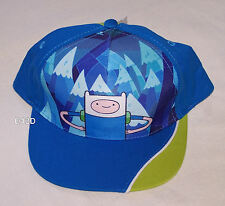 Adventure Time Finn Boys Blue Printed Flat Peak Style Cap Hat One Size New