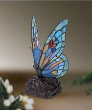 BLUE BUTTERFLY TIFFANY STYLE GLASS TABLE LAMP