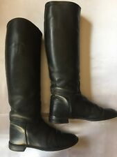 Leather black equestrian riding boots Size 7 Hunting make?