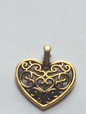 10 X TIBETAN GOLD PLATED FILIGREE HEART CHARM PENDANTS