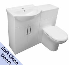 1150 BACK TO WALL VANITY CABINET CERAMIC SINK BASIN WC UNIT TOILET PAN WHITE
