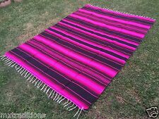 """Mexican Blanket Sarape Pink-Black. Acrylic""""84x60"""" Made in Mexico"""