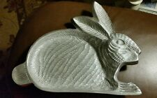 """ALUMINUM BUNNY RABBIT SERVING TRAY/DISH IHI MADE IN INDIA 10"""""""" VG USED COND."""