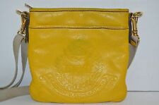Ralph Lauren Crossbody Bag Mustard Yellow Winford Embossed Leather Purse