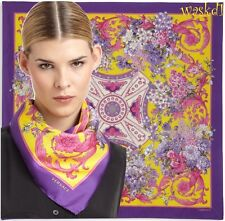 """VERSACE yellow / purple Border BAROQUE Pink BOUQUETS silk 34"""" scarf NEW Authentc"""