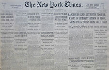 2-1933 February 19 MANCHUKUO SENDS ULTIMATUM TO CHINA. WARNS ATTACK JEHOL, TROOP