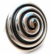 Mexican 950 Sterling Silver Ring Size 8 Round Dome Vintage Handmade Jewelry